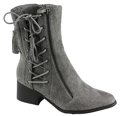 Women's Pointed Toe Block Low Heel Dress Boots(108-1)
