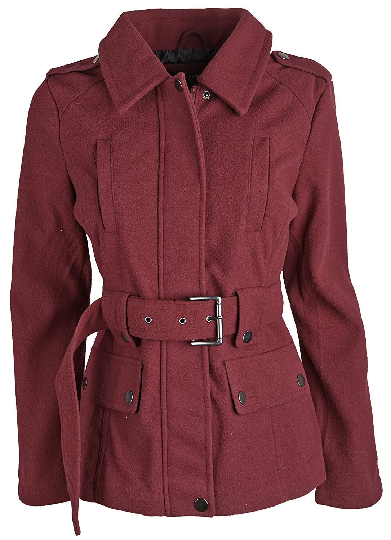 Urban Republic Junior Womens Wool Look Belted Classic Dressy Pea Coat Jacket