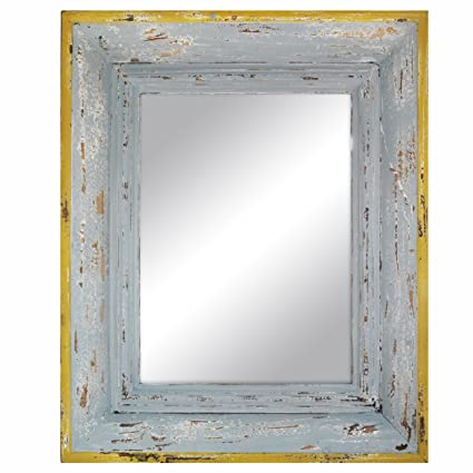 Amazon.com: Weathered Wooden Framed Mirror (Light Blue and Yellow ...