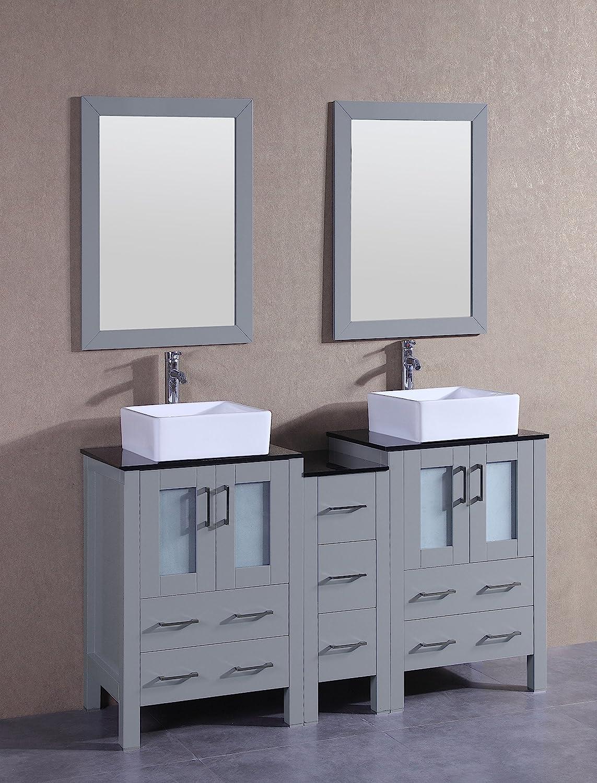 Bosconi Bathroom Vanities 60 Double Vanity Set With Square Vessel