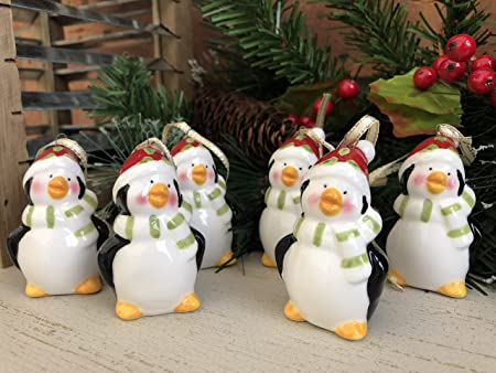 homes on trend set of 6 small ceramic festive penguin christmas tree decorations chic ornaments
