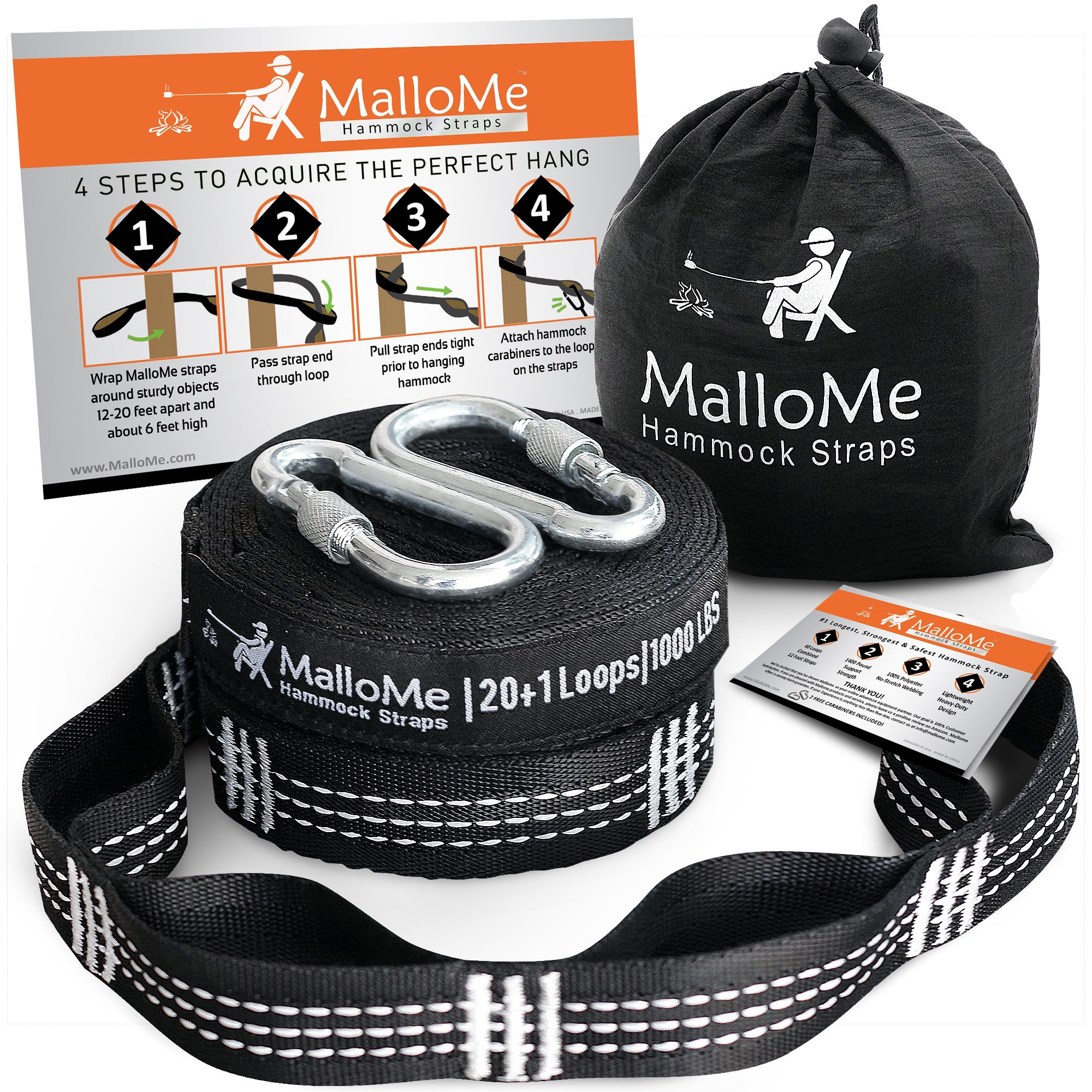 XL Hammock Straps - Hammock Tree Straps Set Versatile 2000+ LBS Heavy Duty 40 Loops & 100% No Stretch Suspension System Kit - Camping Hammock Accessories | 2 Carabiners by MalloMe