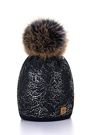 781aedfaefe MFAZ Morefaz Ltd Women Ladies Winter Beanie Hat Knitted with Small Crystals Large  Pom Pom Cap Ski Snowboard Hats (Black Silver)  Amazon.co.uk  Clothing