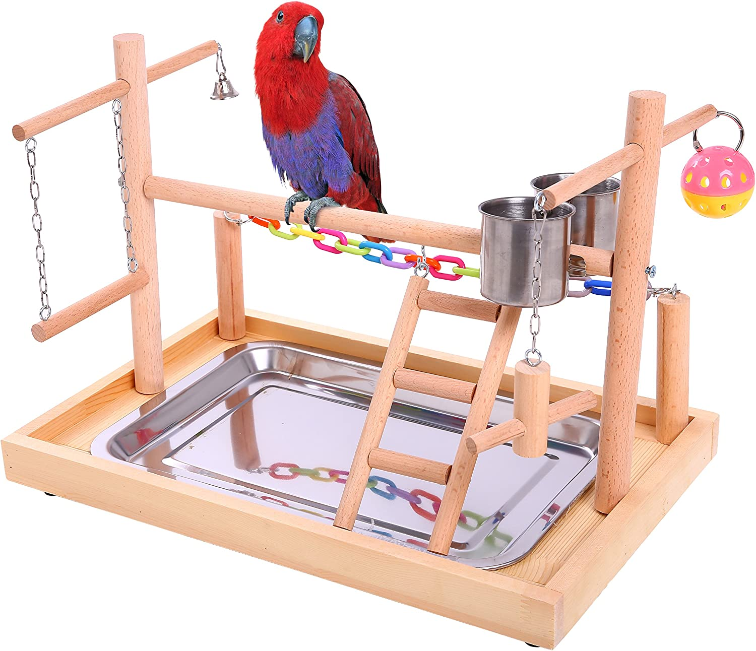QBLEEV Bird Perches Nest Play Stand Gym Parrot Playground Playgym Playpen Playstand Swing Bridge Wood Climb Ladders Wooden Conures Parakeet Macaw African