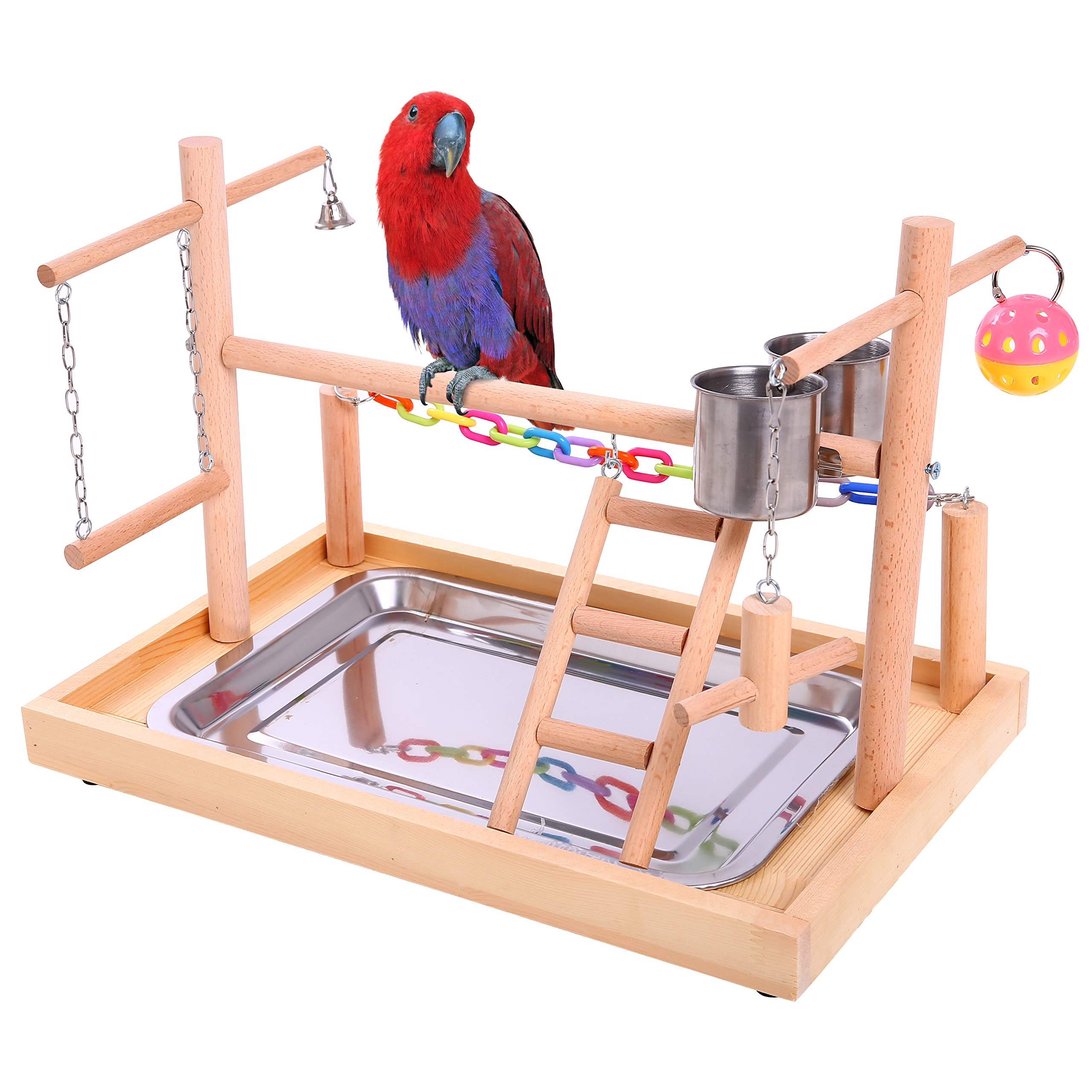 QBLEEV Bird Training Playground Parrot Wooden Perches Play Gym Playpen with Ladders Feeder Cup Chewing Bell Toys(15.3'' L9.6 W10.6 H) by QBLEEV