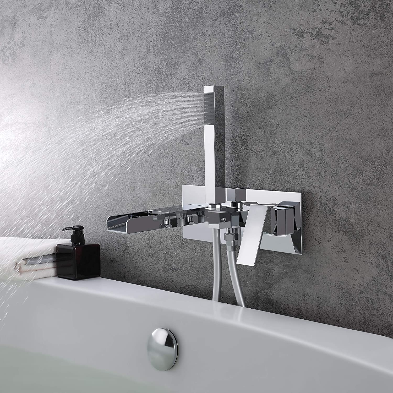 KunMai Modern Waterfall Wall-Mount Double Handles Bath Filler Tap /& Handshower in Chrome