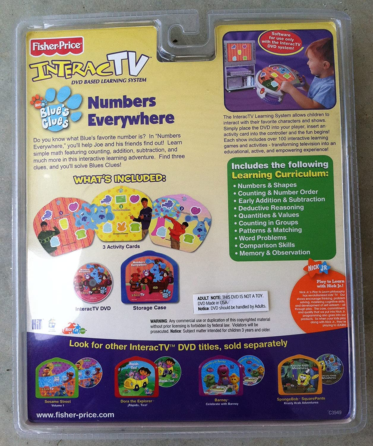amazon com interact tv dvd blues clues numbers everywhere toys