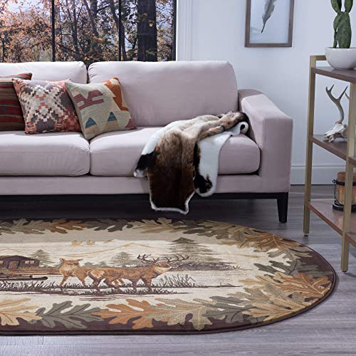 Tayse Oak Deer Brown 3×4 Oval Area Rug Cabin