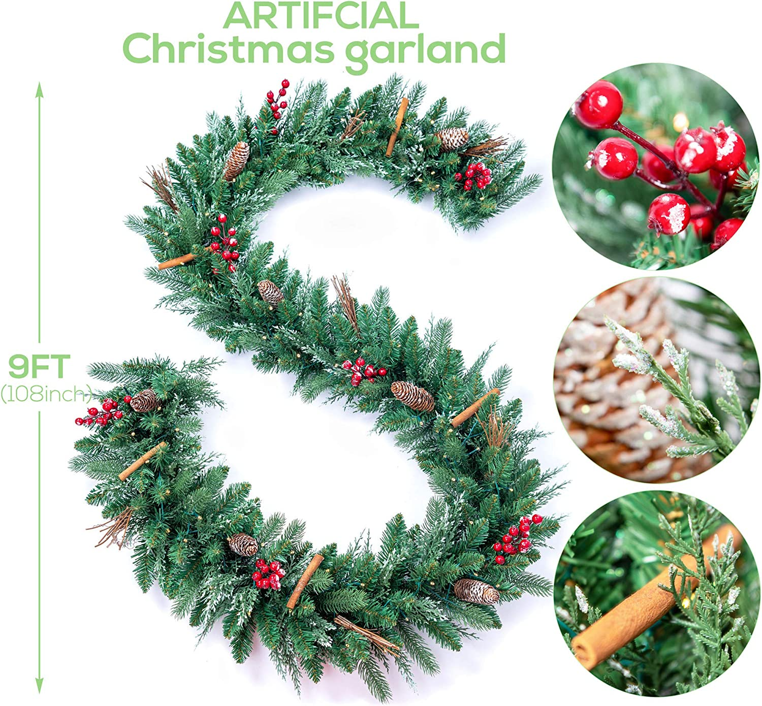 AMERZEST Pre-lit 24 Inch Decorative Christmas Wreath with Flocked Red Berries,Cinnamon Stick,Colorful Glitter Pine Cone and 50 Battery Operated Soft White LED Lights with Timer