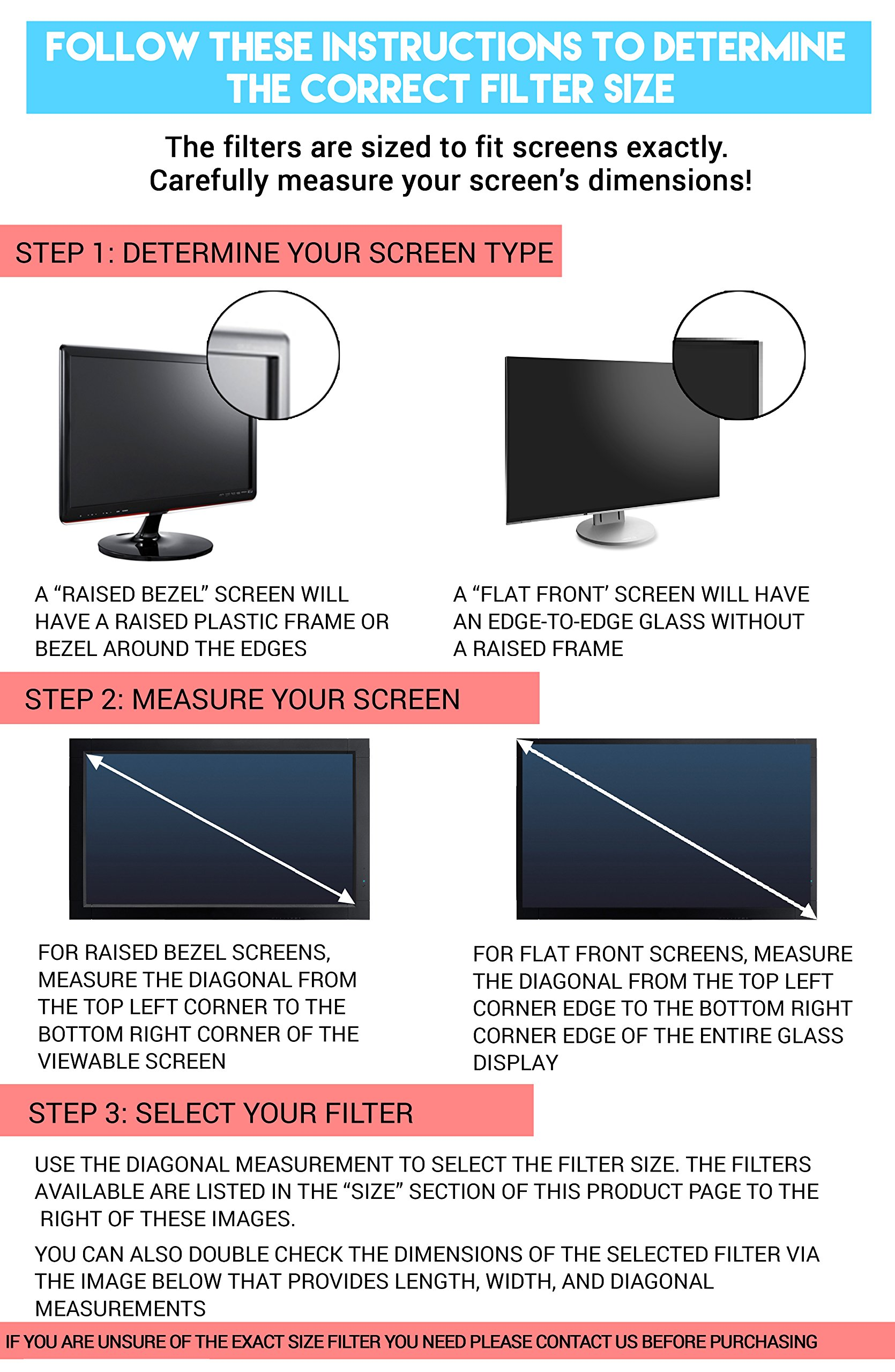 24-Inch Computer Privacy Screen Filter for Desktop Monitors (Diagonally-Measured); Anti-glare Anti-scratch Film; Protects Sensitive Confidential Data (24'' Widescreen (16:9 Aspect Ratio)) by Linnai Products (Image #3)