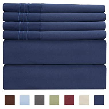 Queen Size Sheet Set - 6 Piece Set - Hotel Luxury Bed Sheets - Extra Soft - Deep Pockets - Easy Fit - Breathable & Cooling Sheets - Comfy - Royal Blue - Navy Blue Bed Sheets - Queens Sheets - 6 PC