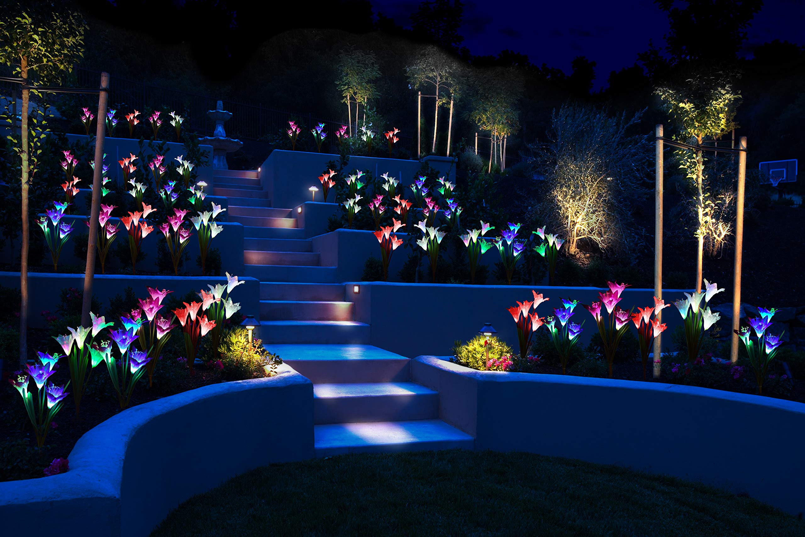 [4 Pack] Solar Lights Outdoor - Solar Garden Lights with 16 Lily Flowers | Color Changing LED Solar Stake Lights for Garden, Patio, Path, Backyard by AWJ Products (Image #6)