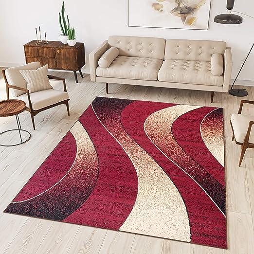 Tapiso Collection Dream Tapis de Salon Chambre Moderne Fin Couleur Rouge  Beige Motif Abstrait Ondes Vagues Facile d\'entretien 140 x 200 cm