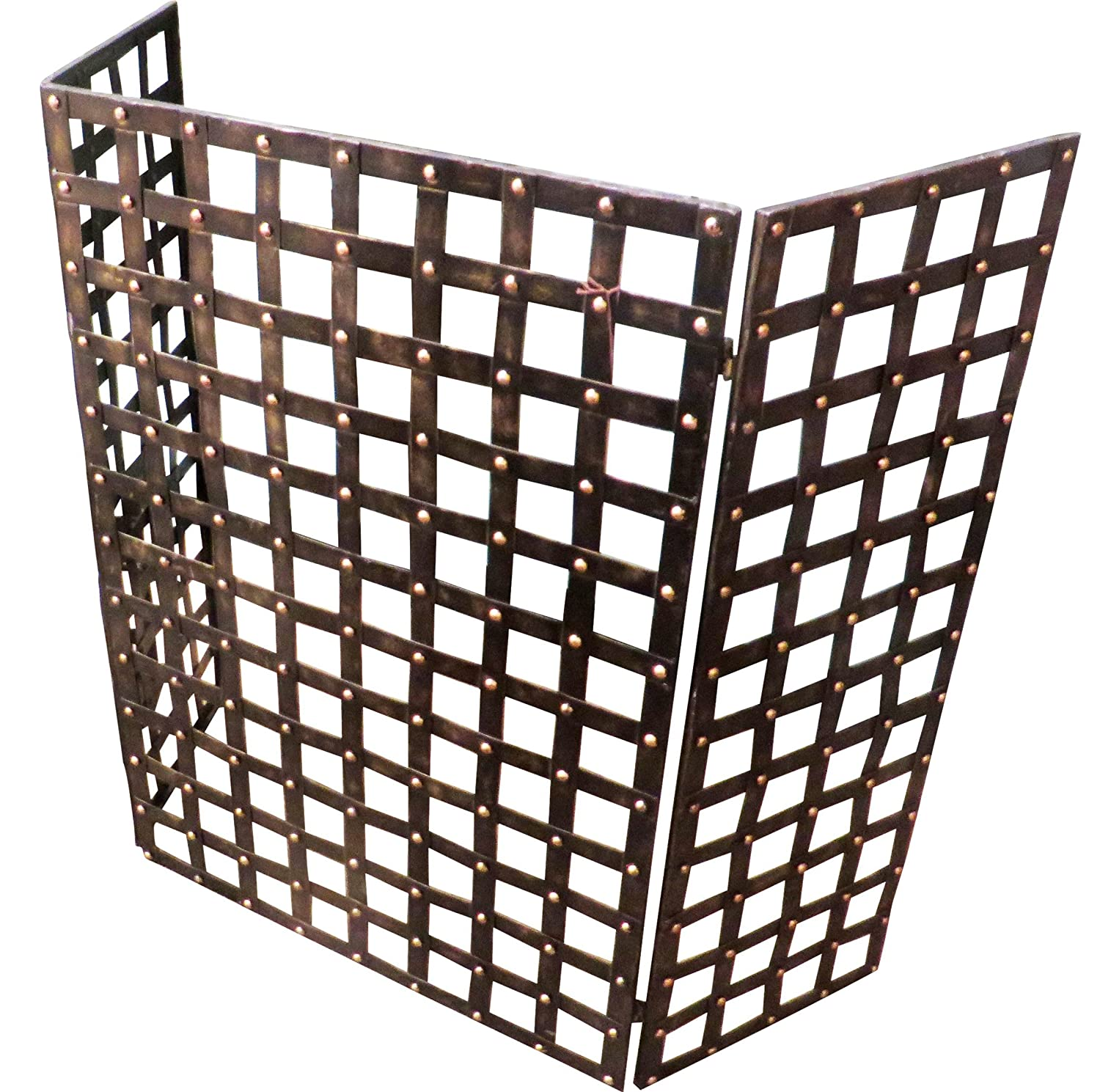 amazon com gothic iron nailhead fireplace screen home u0026 kitchen
