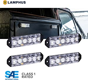 4pc PlanarFlash 6W White LED Flashing Strobe Light Head [Ultra Flat] [SAE Class 1] [72 Flash Mode] [Multi Units Sync-able] [Surface-Mount] Emergency Grille Police Light for Truck Vehicle