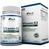 Vitamin K2 MK 7 200mcg – 365 Vegetarian and Vegan Tablets (not Capsules), One Year Supply of High Strength Vitamin K2 Menaquinon MK7 from Trans-Isomer by Nu U Nutrition