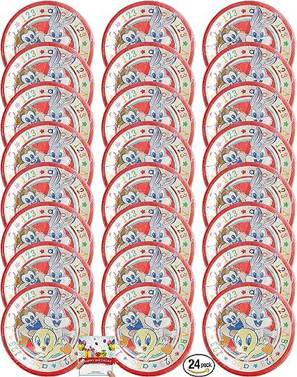 Amazon.com: Looney Tunes - Platos de cumpleaños para 24 ...
