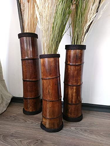 Amazon Com Floor Vases Wooden Bamboo Vases Garden Decor Bamboo Decor Primitive Country Decor Set Of 3 Vases Flower Vases Handmade