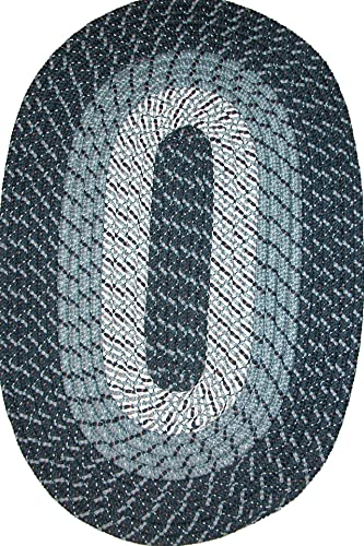 Constitution Rugs Plymouth 5 x 8 Braided Rug in Midnight Blue