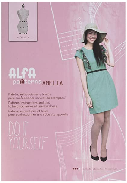 Alfa Amelia - Patrón de Costura, con Instrucciones para elaborar un Vestido