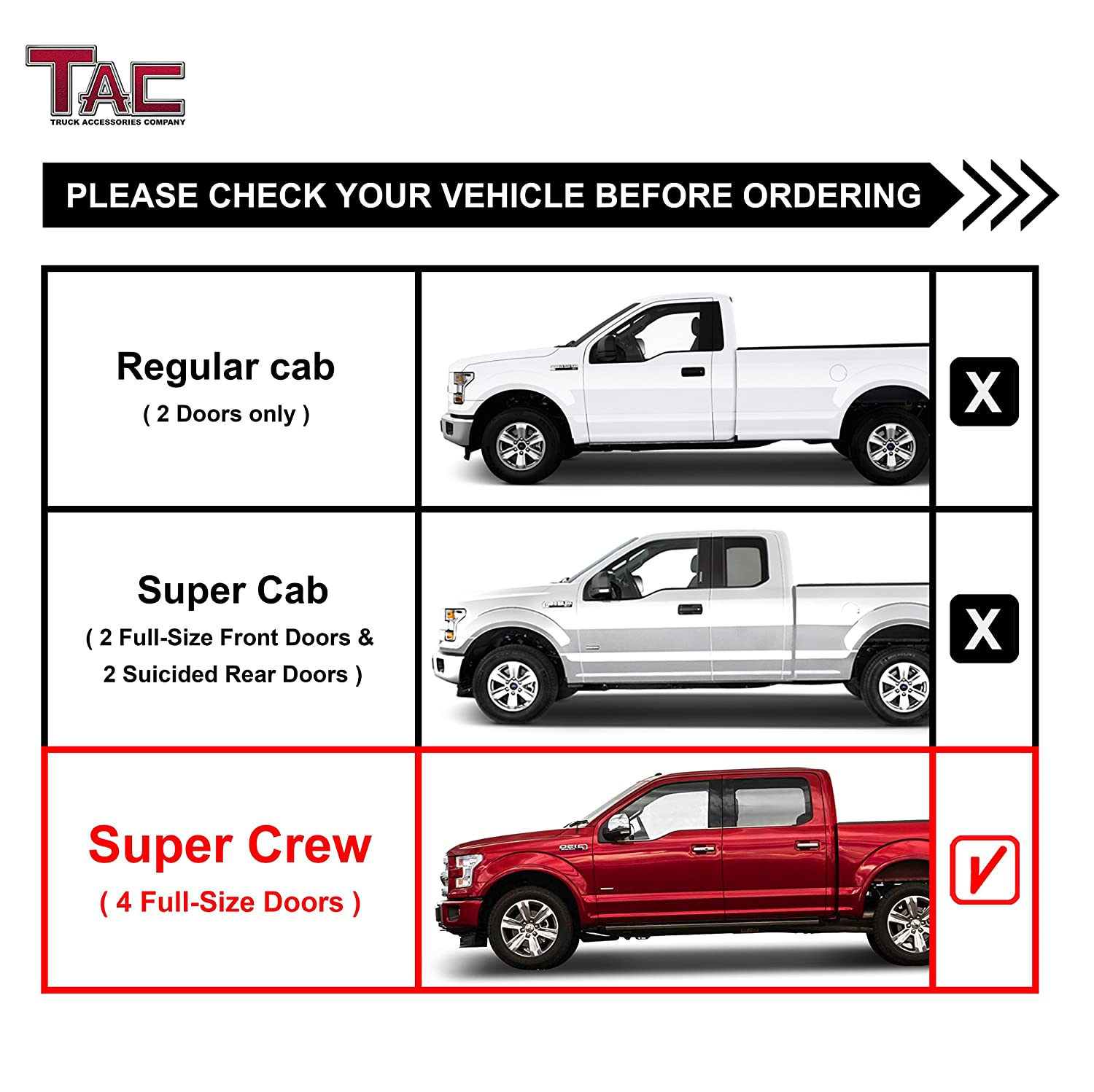 TAC Side Steps Fit 1999-2016 Ford F250//F350//F450//F550 Super Duty Crew Cab Truck Pickup 5 Oval Bend T304 Stainless Steel Side Bars Nerf Bars Running Boards Off Road Exterior Accessories 2 PCS