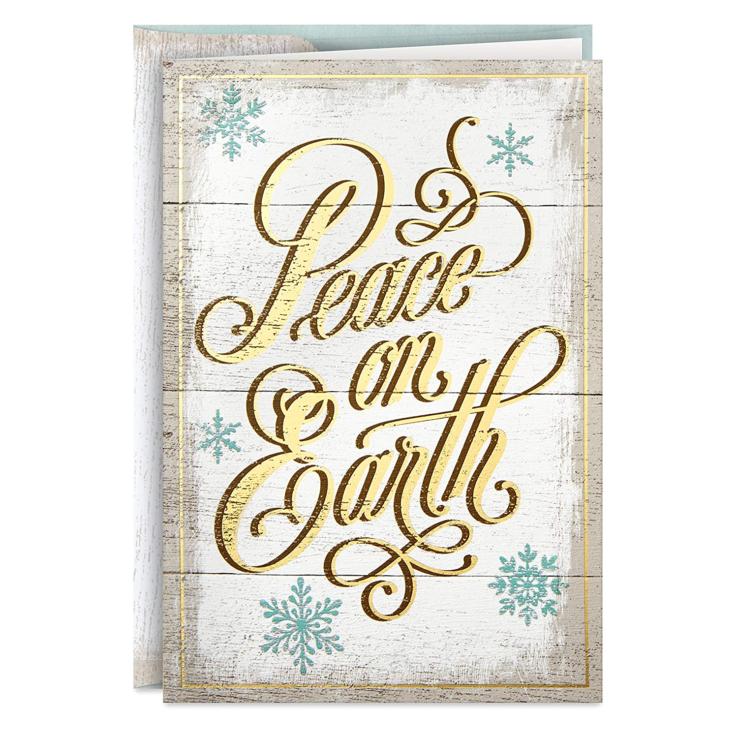 Hallmark Boxed Holiday Cards, Peace on Earth Lettering (16 Cards with 17 Designed Envelopes)