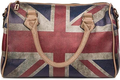 styleBREAKER Union Jack Handtasche im Großbritannien Vintage Design, Bowling Tasche, Henkeltasche, Damen 02012015