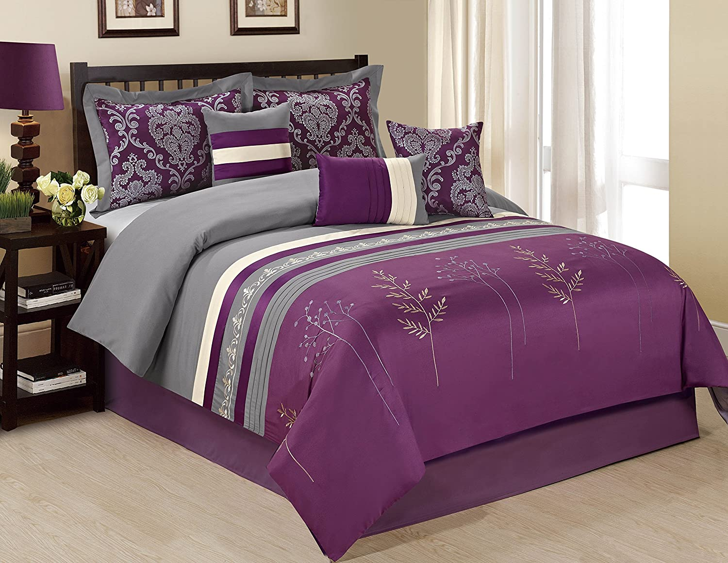 Bednlinens 7 Piece Dala Tree Branch Print & Embroidery Purple/Grey Comforter Set Queen King Cal.King King, Purple