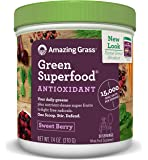 Amazing Grass Green Superfood Antioxidant Powder, Sweet Berry, 30 Servings, 7.4oz, Probiotic, digestive enzymes, vegan, detox, Gluten Free, vitamin C, Spirulina, Chlorella, greens, vitamins