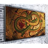 Canvas Green Dragon Panoramic Art Print Picture Framed XXL 55 inch x 24 inch Over 4.5 ft wide x 2 ft high Ready to Hang