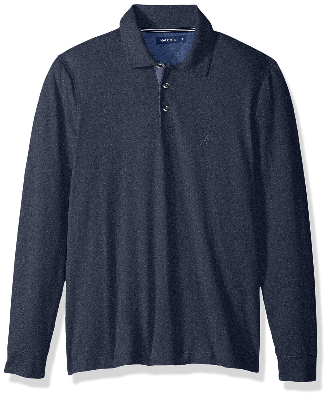 Nautica Hombres Long Sleeve Solid Polo Shirt Manga Larga Camisa ...