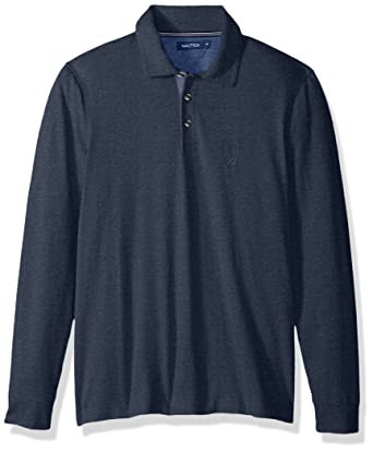 Nautica Hombres Long Sleeve Solid Polo Shirt Manga Larga Camisa ...