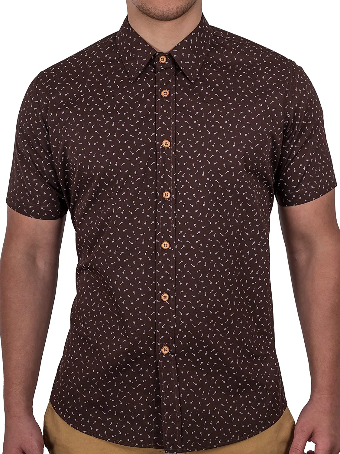 185e0f6d Smalll plam tree break up the chocolate brown cotton look perfect for summer.  Wood buttons, 100% Natural Materials Limited Edition, only 200 shirts made  in ...
