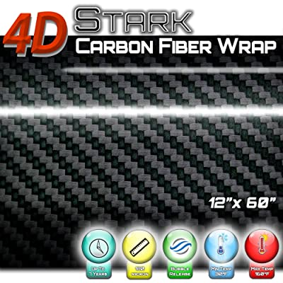 "4D Black Carbon Fiber Vinyl Wrap Sticker Air Release Bubble Free Anti-Wrinkle 1 x 5 FT Feet / 12"" x 60"" in Inches: Automotive"