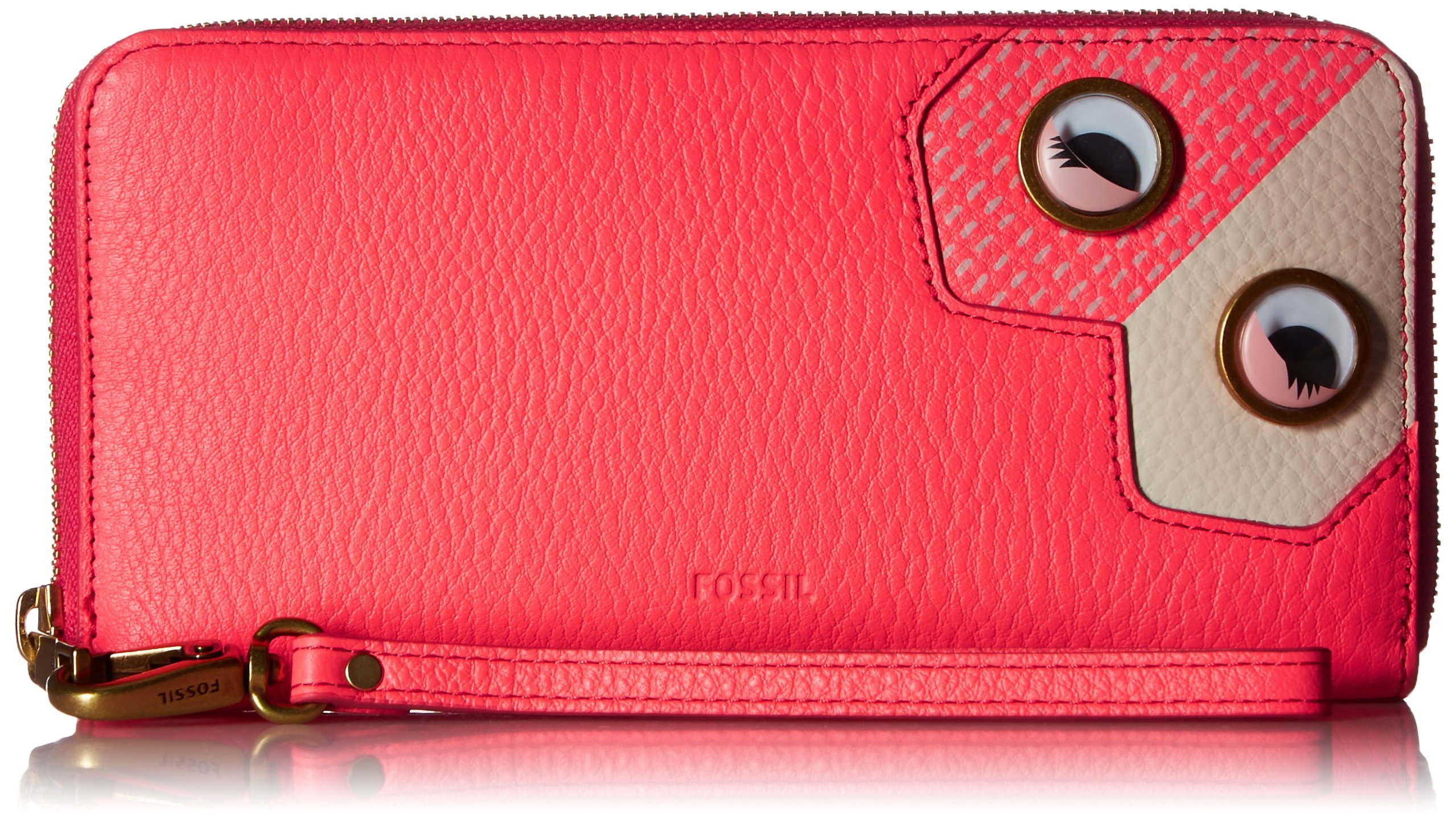 Fossil Emma Rfid Large Zip Wallet-Neon Coral, Neon Coral Pink