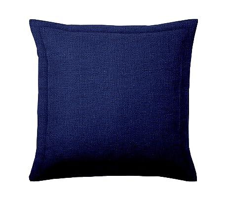 ADP Home - 2 Fundas de Cojín 50x50 +5 CM con Volante y Cremallera (Tejido Loneta) Azul Marino