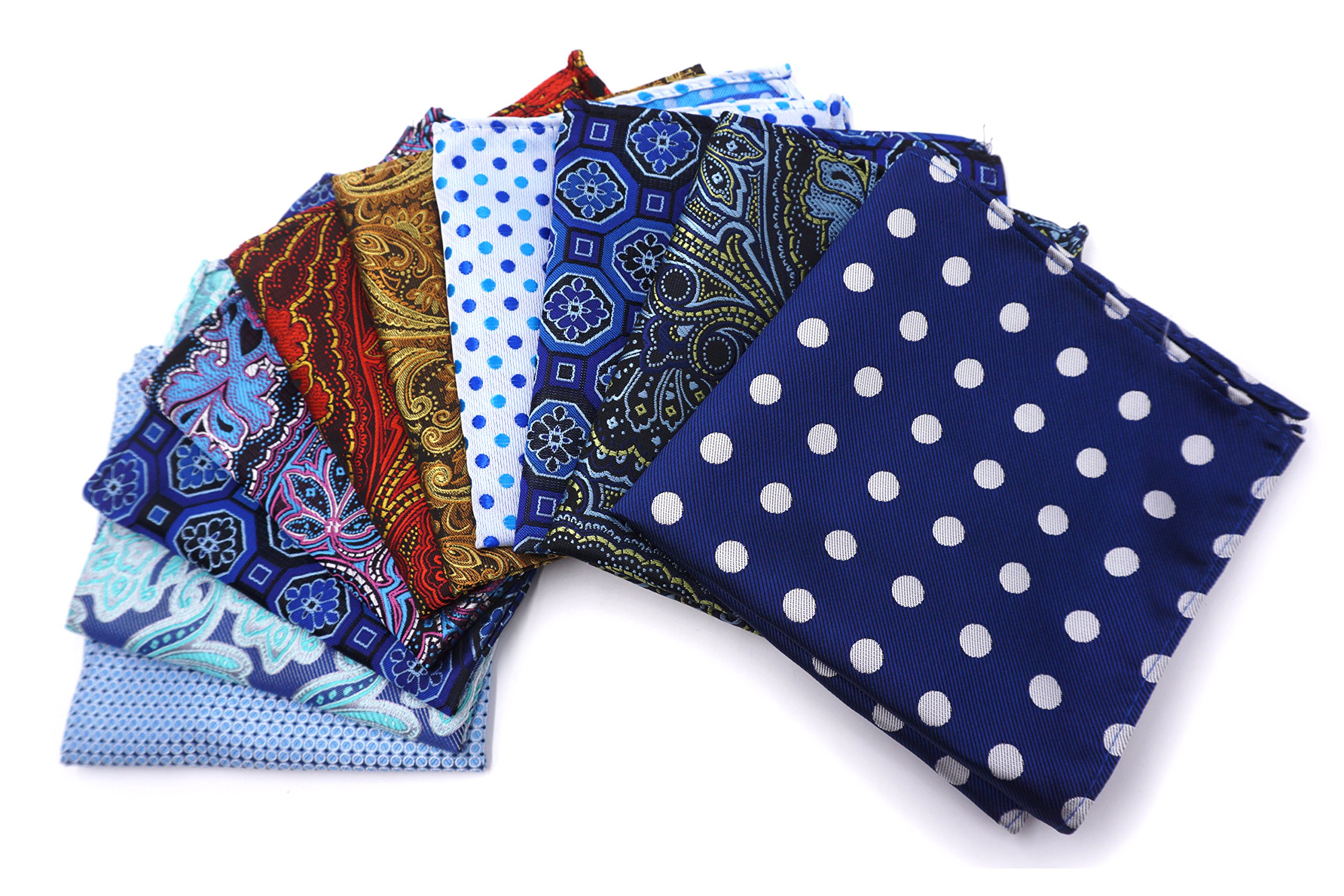 AVANTMEN 10 PCS Men's Pocket Squares Assorted Woven Handkerchief Hanky with Gift Box (10 x 10'', S8)