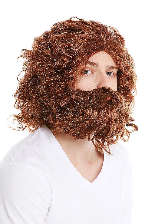 6098A+B-P340-P27 Peluca y Barba Carnaval Hombre primitivo Neanderthal Silvano b/árbaro ermita/ño Mezcla de Color casta/ño Rojizo Rubio WIG ME UP /®