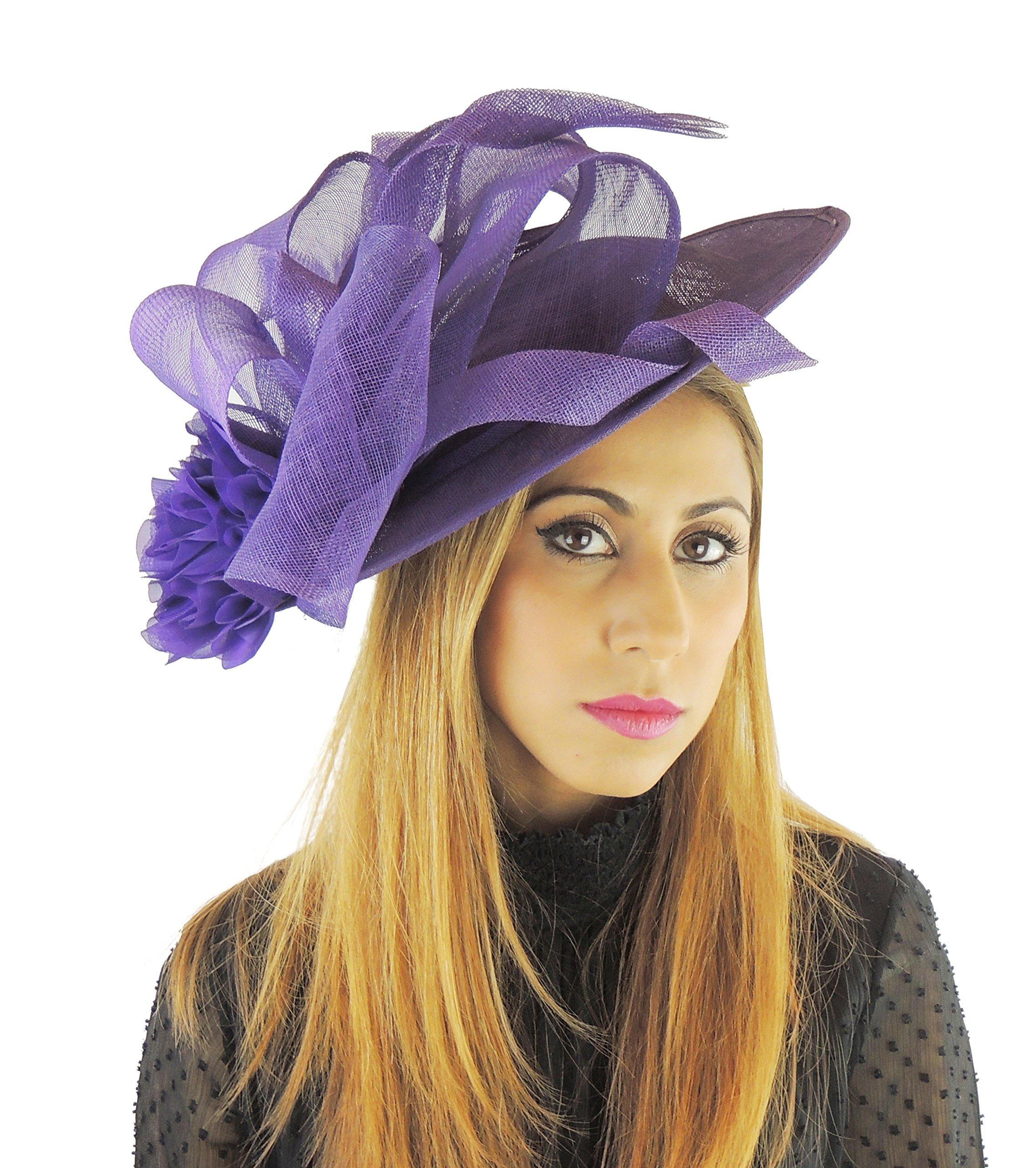 Hats By Cressida Ladies Wedding Races Ascot Derby Fascinator Headband Purple by Hats By Cressida