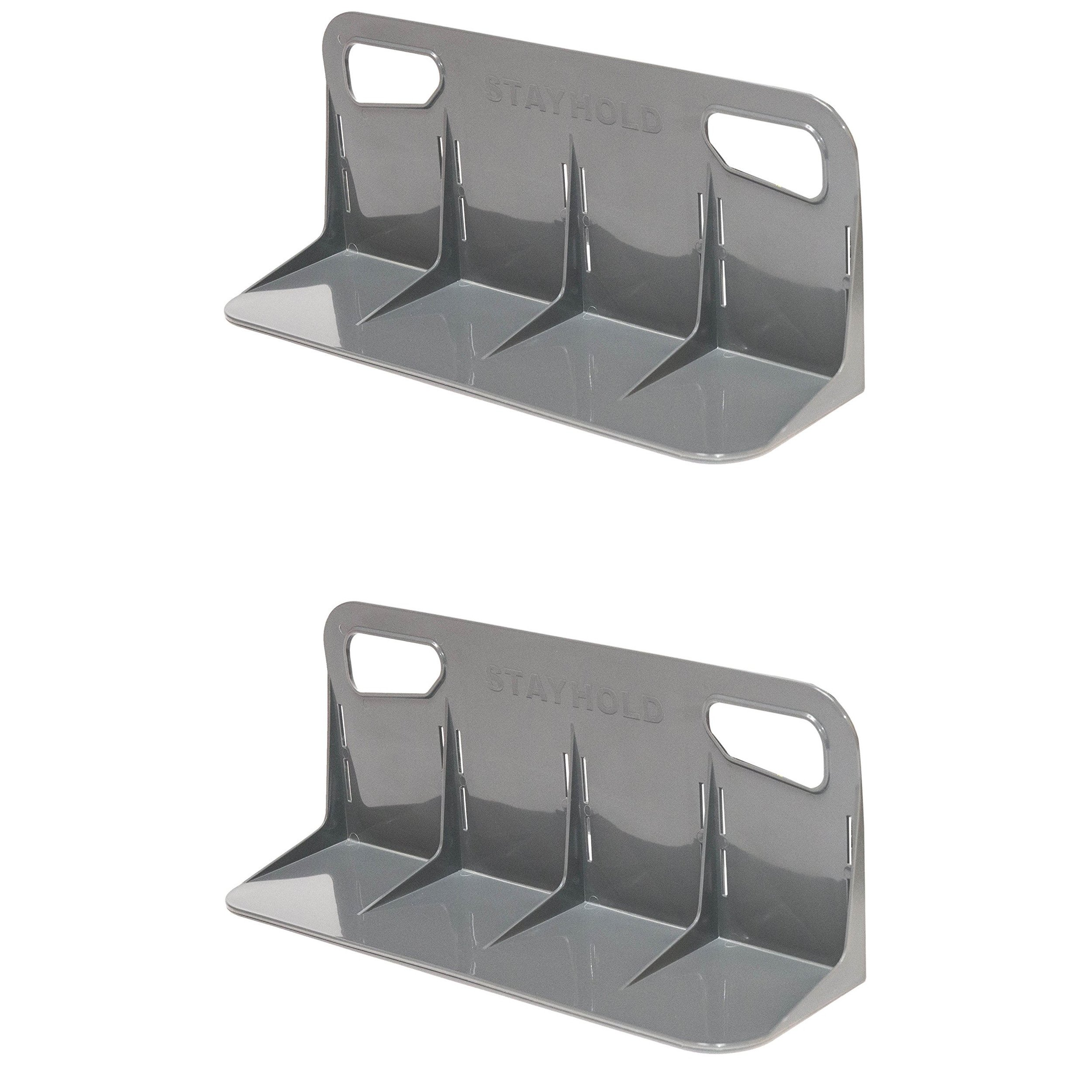 STAYHOLD Car Trunk Organizer, Adapts to Hold Any Size or Shape Item   Sticks to Carpet with Hard Gripping VELCRO Brand Technology   Cars, Trucks, SUV, Minivan & Boats   Size L 2Pk, Classic   Gray by Stayhold
