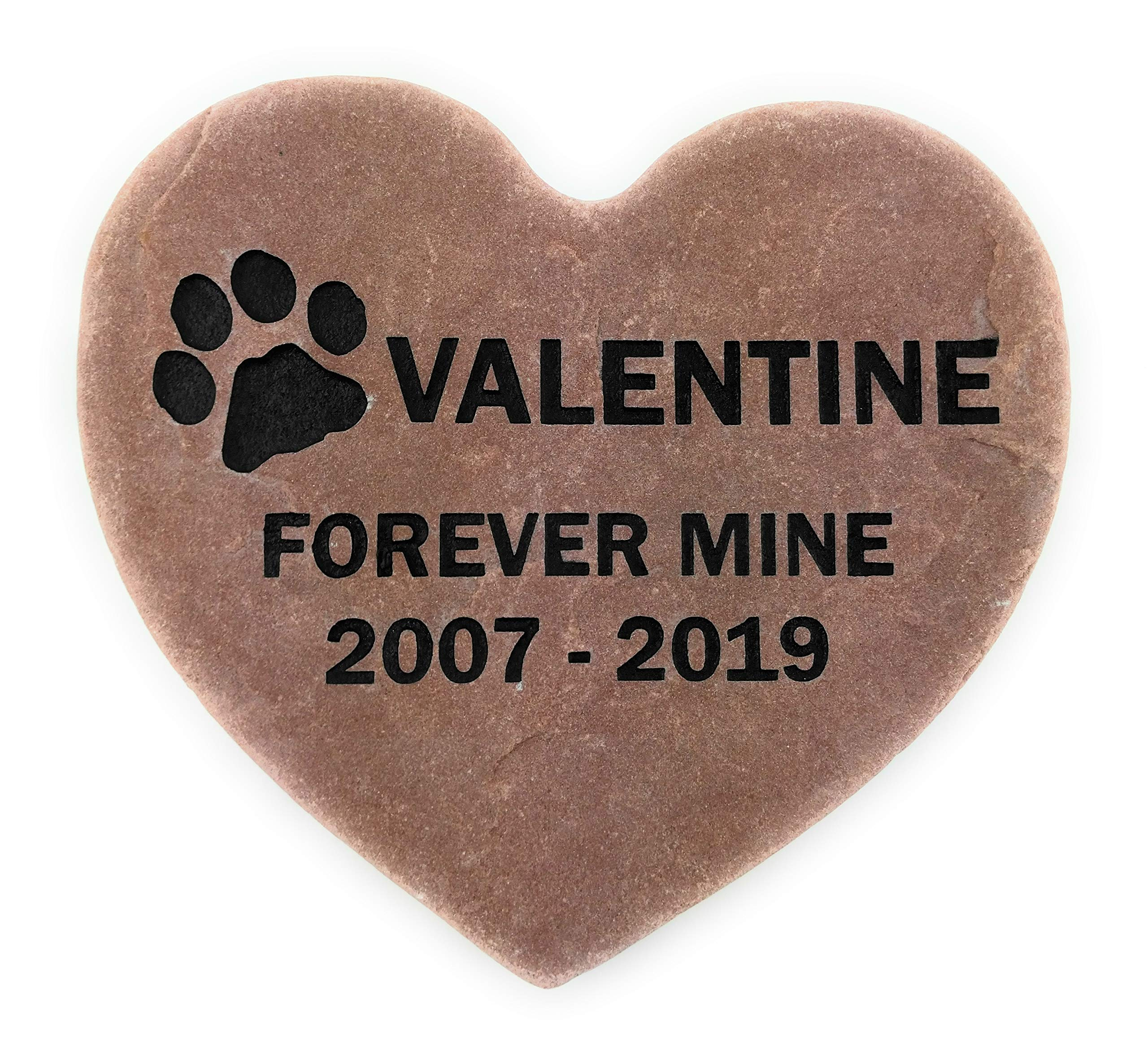 GraphicRocks Personalized Pet Memorial Grave Marker Garden Stone 8 inch Natural Red Stone Heart by GraphicRocks