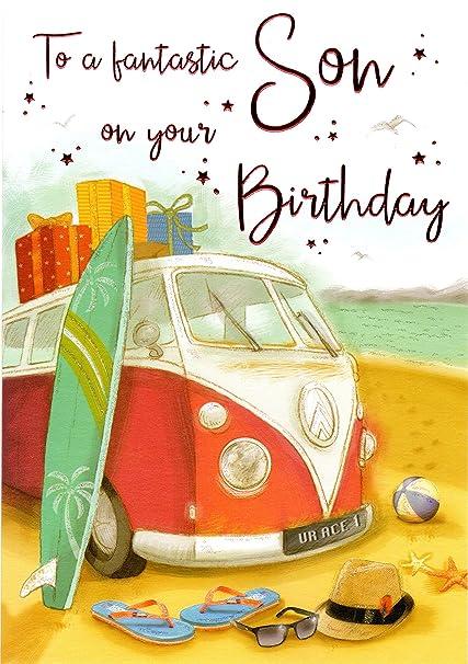 A un fantástico hijo gran tarjeta de cumpleaños – Furgoneta y tablas de surf