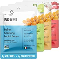 BRAMI Lupini Beans Snack, Variety Pack   7g Plant Protein, 0g Net Carbs   Vegan, Vegetarian, Keto, Plant Based, Mediterranean Diet, Non Perishable   5.3 Ounce (4 Count)