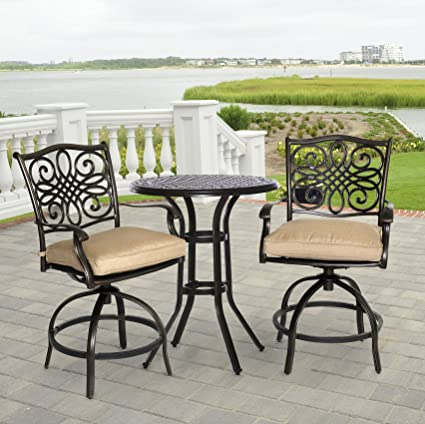 high top outdoor bistro sets hanover traditions 3piece highdining bistro set in tan amazoncom