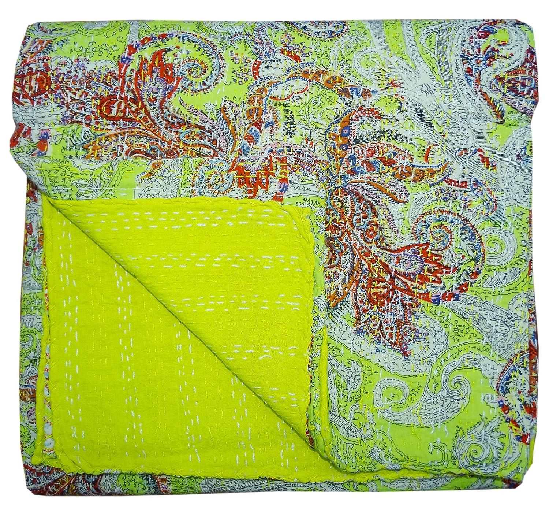 Bhavya International Ethnic Paisley Handmade Kantha Quilt Twin Size Bedspread Throw Ralli Blanket/Gudari/Bedcover