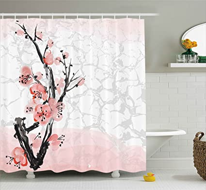Ambesonne Floral Shower Curtain By Japanese Cherry Blossom Sakura Tree Branch Soft Pastel Watercolor Print