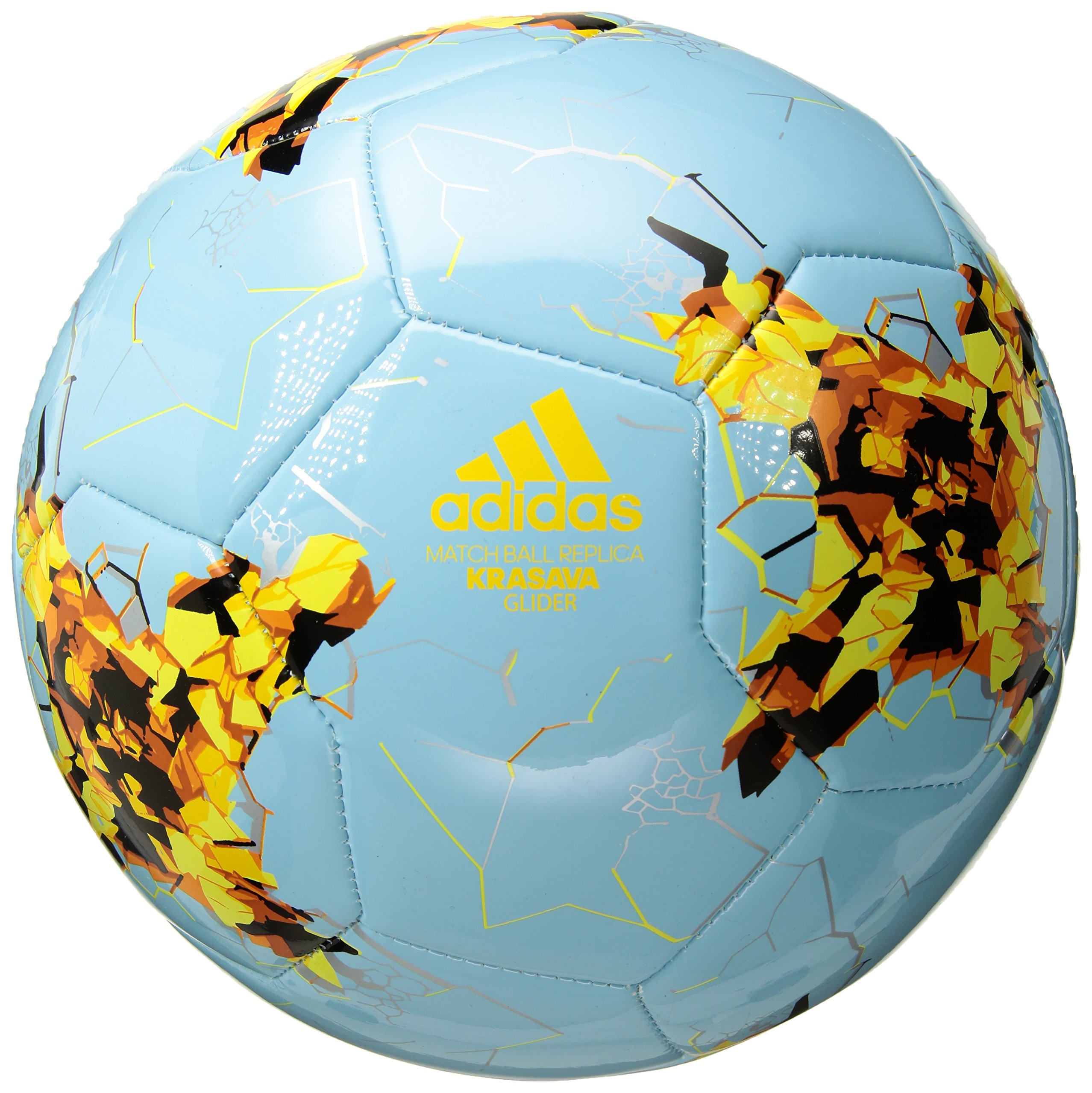 adidas Performance Confederations Cup Glider Soccer Ball, Ice Blue/Shock Yellow/Tactile Orange, Size 3