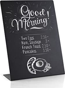 Metal Mini Chalkboard Signs 11 ? 8 1/2 inches - Easy To Write And Wipe Out - For Liquid Chalk Markers And Chalk - Small Rustic Message Board Signs - Food Labels For Party - Small Chalkboard With Stand