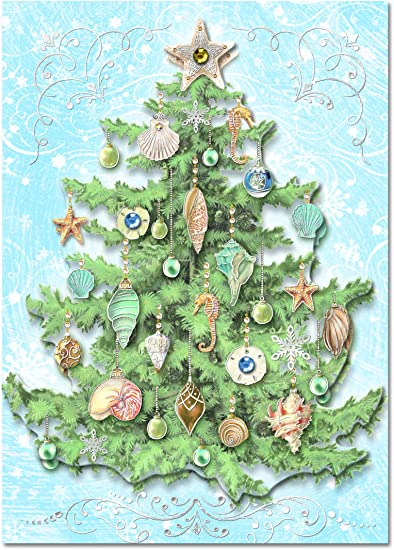 punch studio christmas dimensional greeting cards christmas tree with seashells glitter embellishment set
