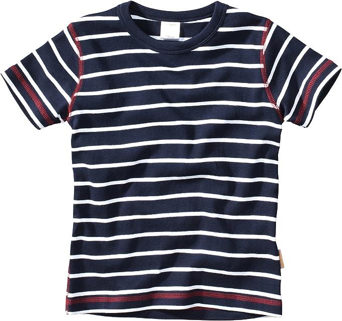 WELLYOU Camiseta de Manga Corta Azul Oscuro con Rayas Blancas, para niños 100% de algodón. Tallas 56-146: Amazon.es: Ropa y accesorios